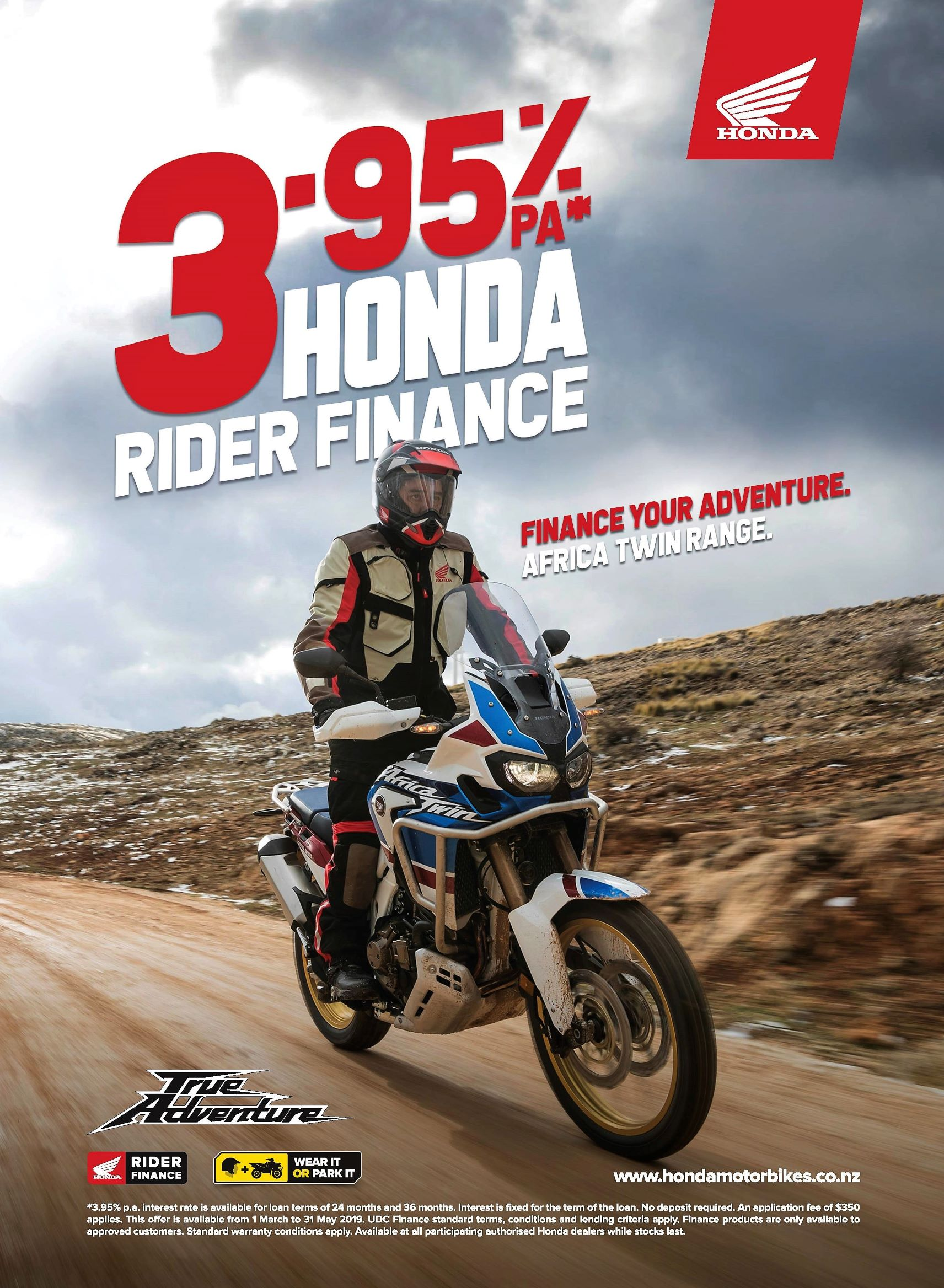 3.95% Finance on the Honda CRF1000 Africa Twin range