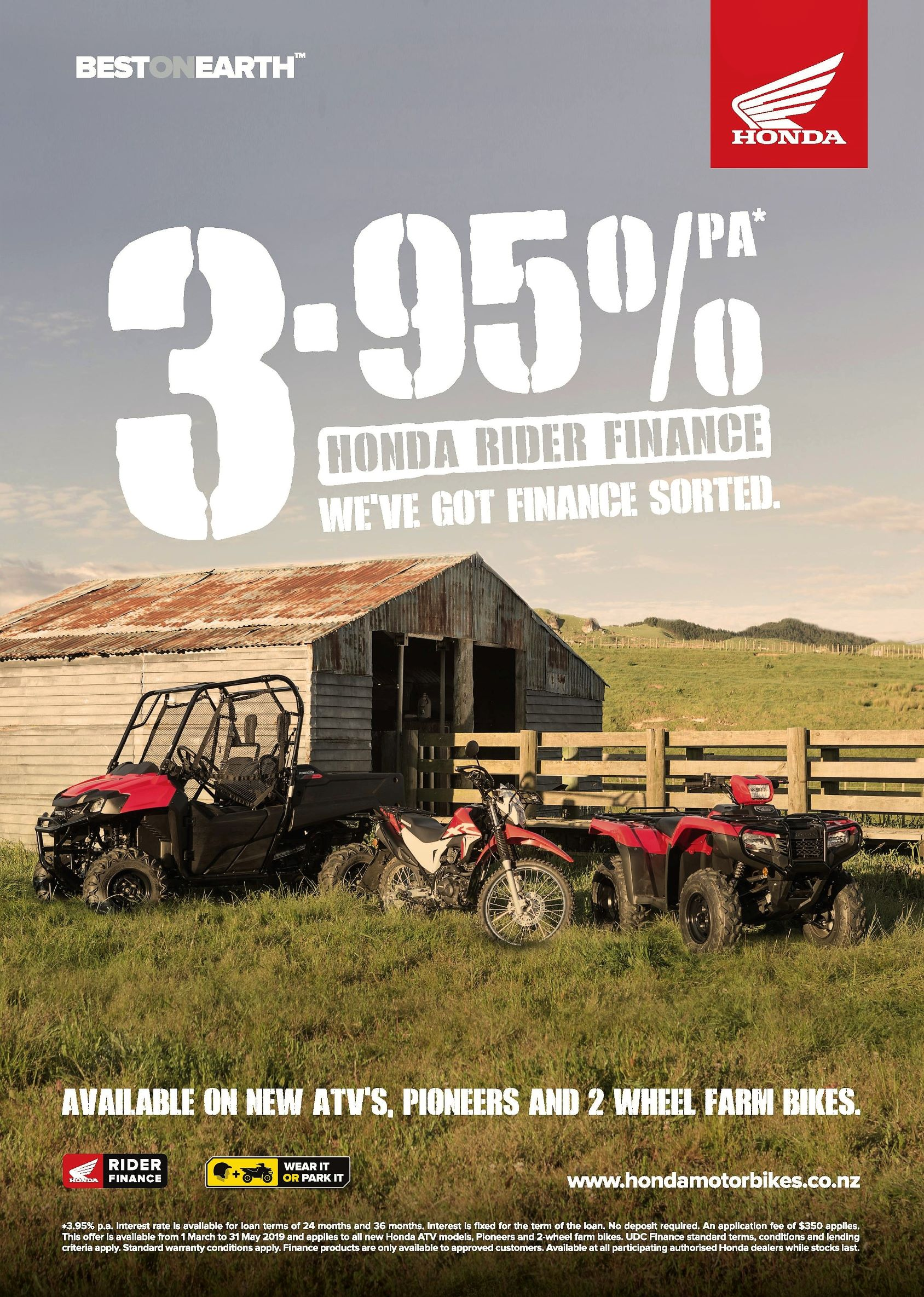 3.95% Finance available on the Honda Farm Range