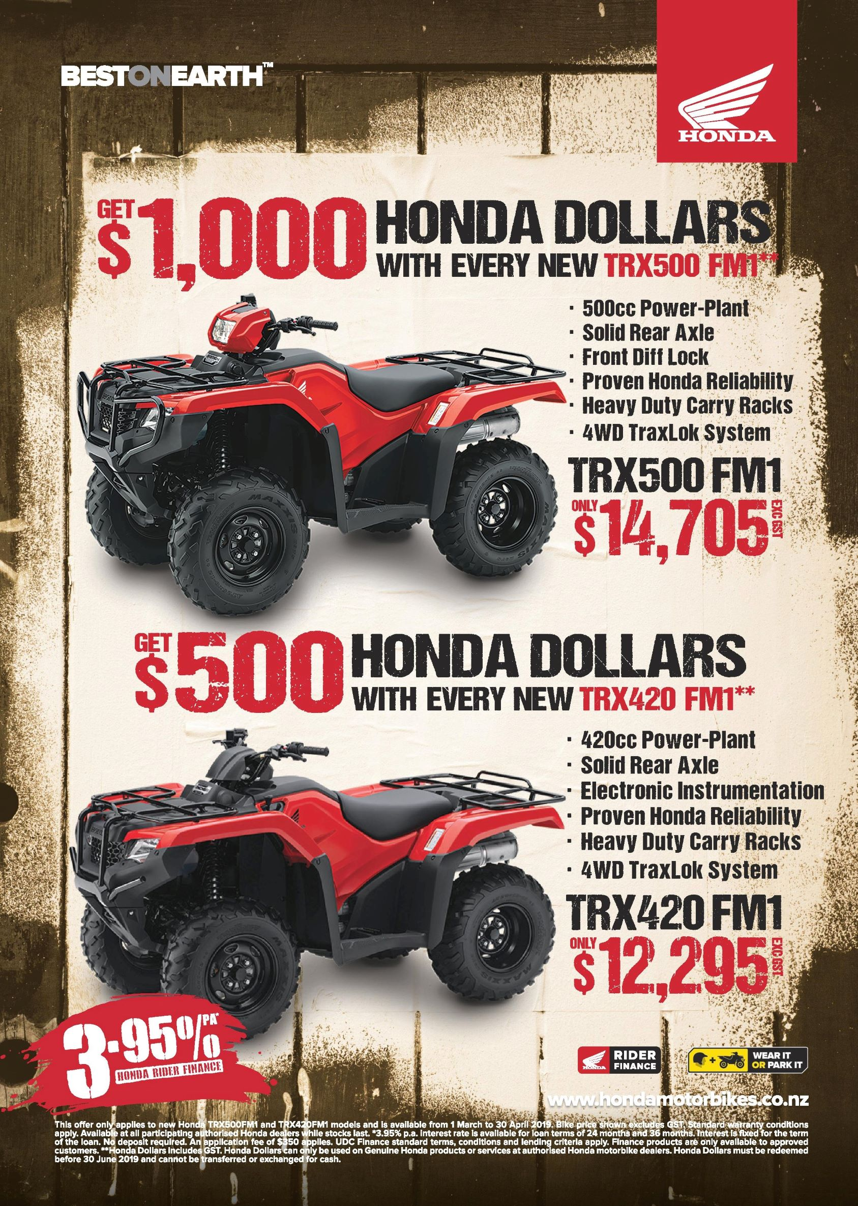 Get Honda Dollars and 3.95% Finance on a new TRX420FM1 & TRX500FM1