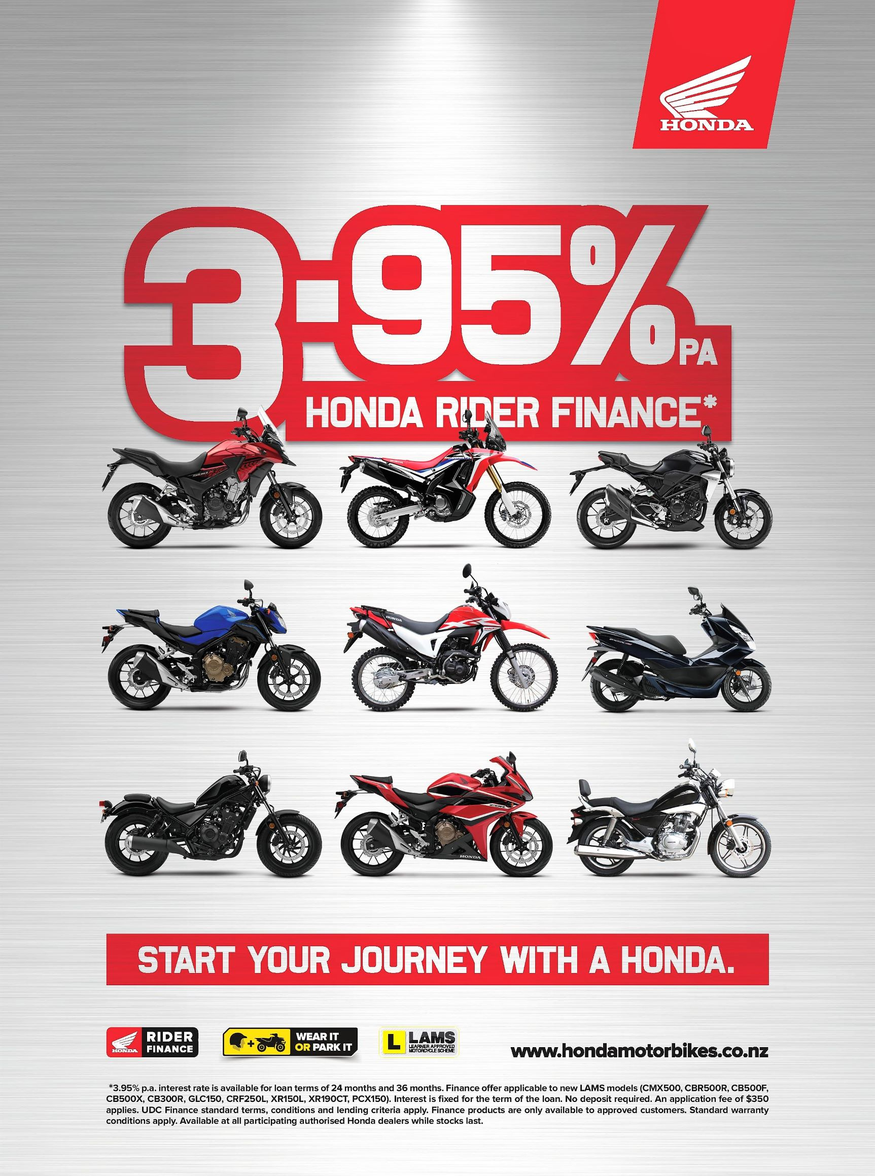 3.95% Finance on the Honda LAMS Range